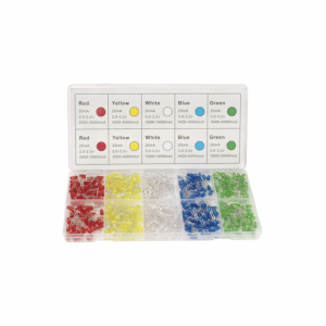 DiCUNO 450pcs (5 Colors x 90pcs) 5mm LED Light Emitting Diode Round Assorted Color White/Red/Yellow/Green/Blue Kit Box