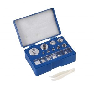 Calibration Weight Set, 17Pcs 211.1g, 10mg-100g Precision Weight, No.45 Steel, with Plastic Storage Case and Tweezer, Silver, for Jewelry Scale, General Laboratory