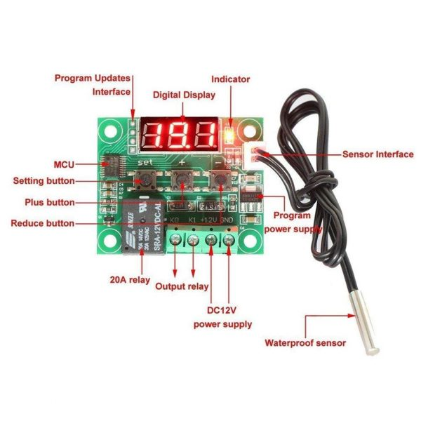 Thermostat Temperature Control Switch Thermometer Controller W1209-B