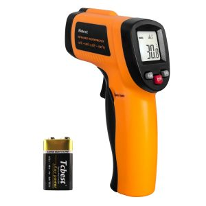 IR thermometer for Metals (Helect Non-Contact Digital Laser Infrared Thermometer Temperature Gun with LCD Display -58°F to 1022°F (-50°C to 550°C) , Orange)