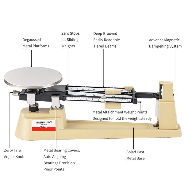 Triple Beam Mechanical Balance Scale 2610g/0.1g with Stainless Steel Weighing Platter (Triple Beam Scale)